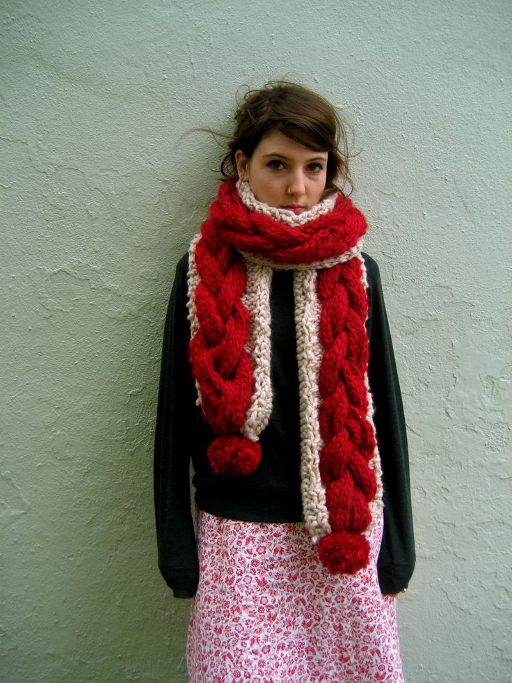 Pom Pom cable Scarf by Henry and Grace