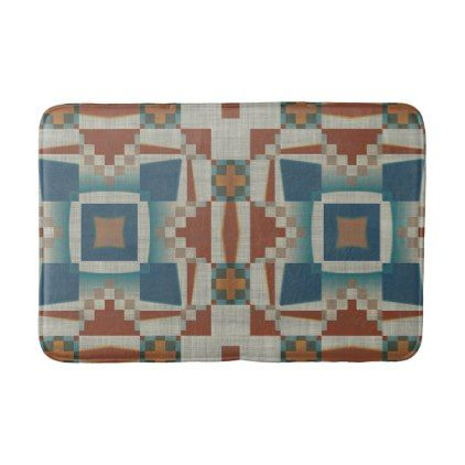 Burnt Orange Brown Teal Blue Eclectic Ethnic Look Bath Mat - western style diy unique customize stylish