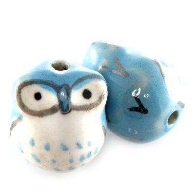 7526: sowy porcelanowe niebieskie 13 x 15 mm w Maxbeads na DaWanda.com