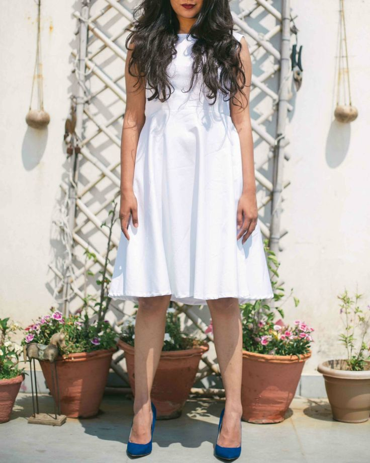 White cotton lycra Dress by Nafisa Rachel William | The Secret Label