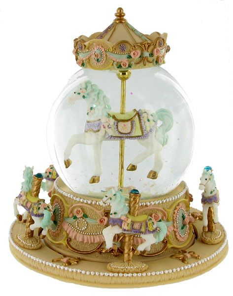 Musical Carousel Snow Globe with Pink Roses.