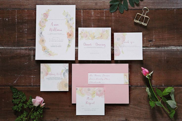 Soft Pastel wedding invitation suite. Wedding and Colour hand painted watercolour invites