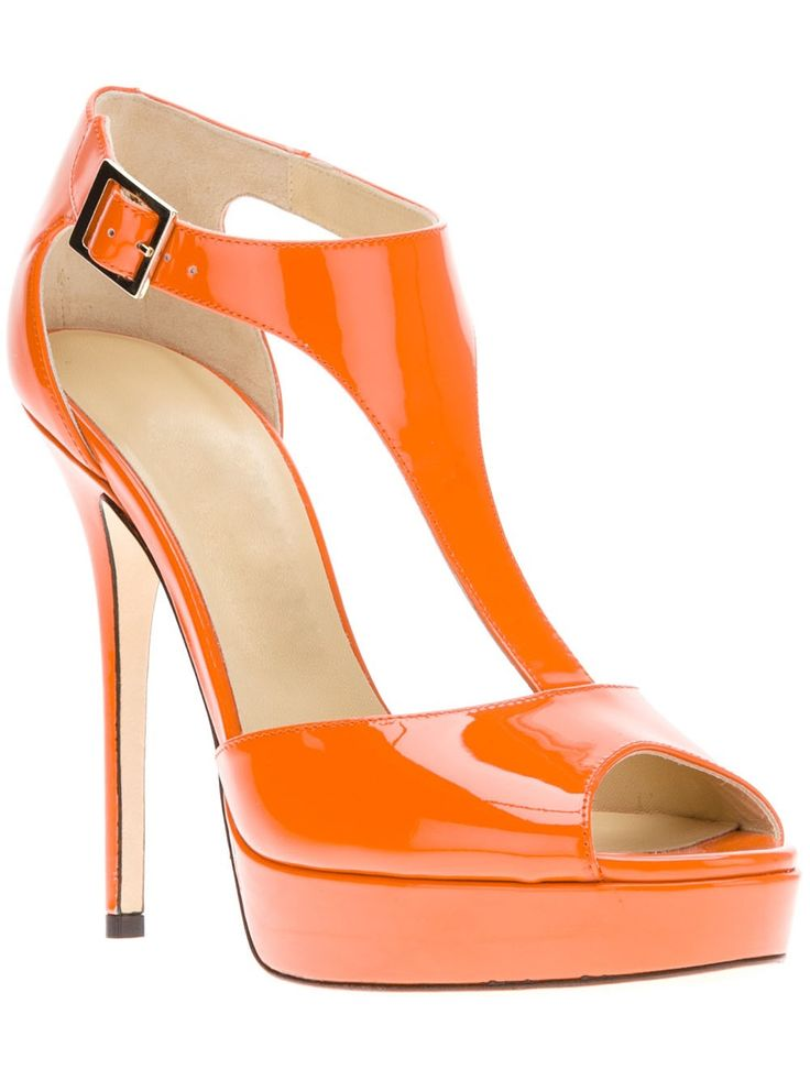 68.00$  Watch now - http://aliony.worldwells.pw/go.php?t=32708732875 - Orange Patent Leather Platform T-strap Women Sandal Open Toe Made-to-order Plus Size 14 Ladies Shoes With Heel Platform 68.00$