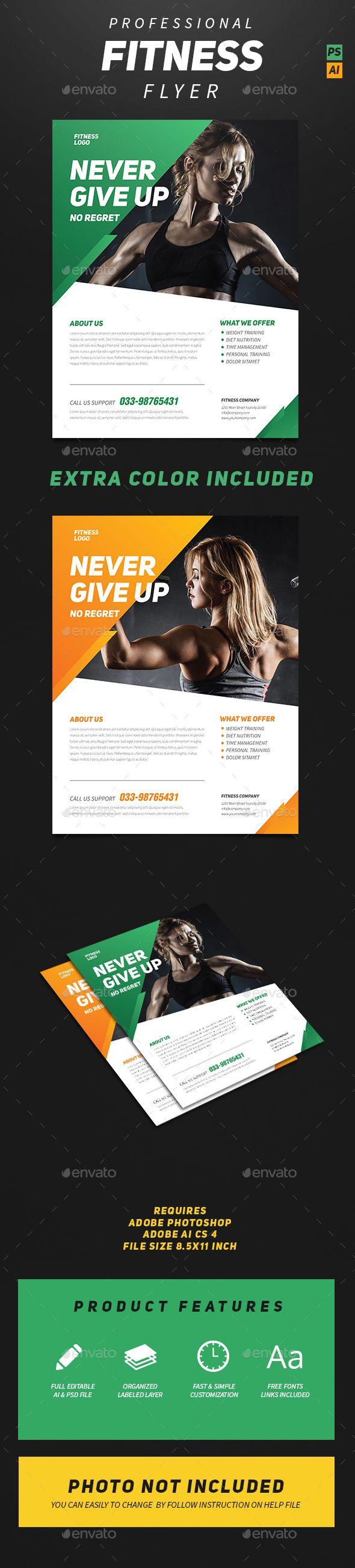 Professional Fitness Flyer Template PSD #design Download: http://graphicriver.net/item/professional-fitness-flyer/14059698?ref=ksioks