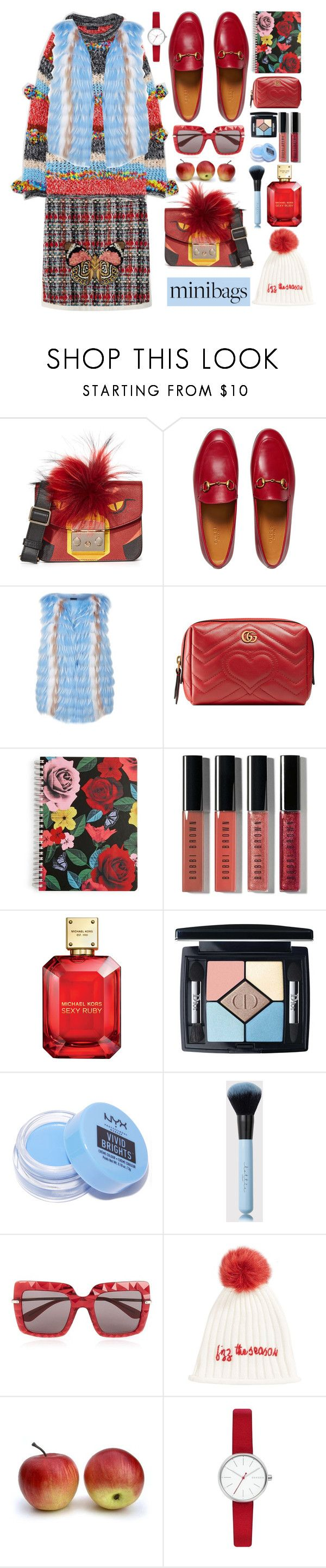 """Mini Bag Contest"" by kristina-susanto ❤ liked on Polyvore featuring Furla, Gucci, Sportalm, Vera Bradley, Bobbi Brown Cosmetics, Christian Dior, NYX, Dolce&Gabbana, Collection XIIX and Skagen"