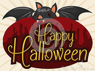 Poster with cute bat biting a red sign covered with juice like blood and wishing you a happy Halloween.