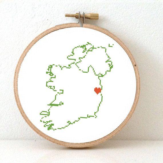 IRELAND map modern cross stitch pattern. Ireland art. St Patricks day gift. Ireland poster Dublin map. Dublin Ireland map.