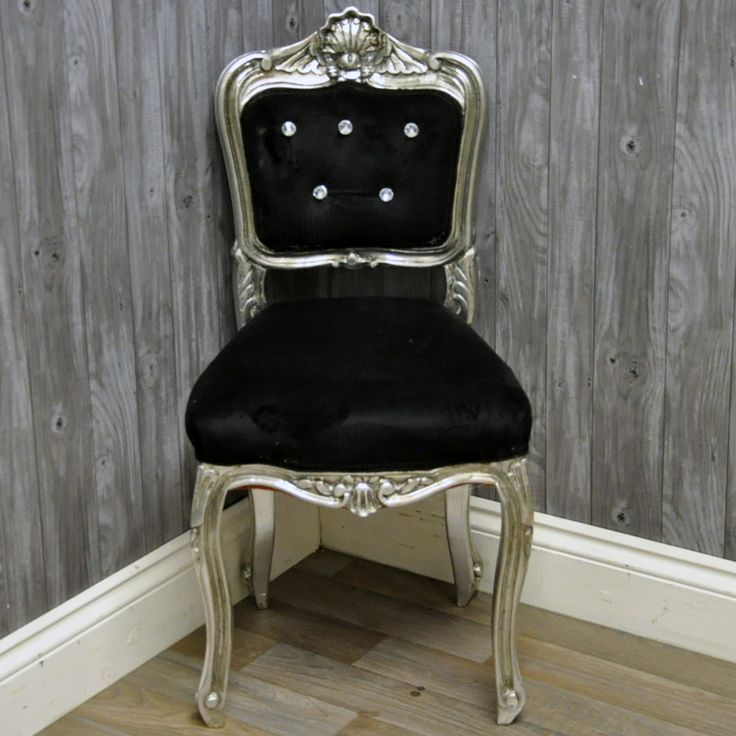 Antique Silver Finish French Style Louis Bedroom Chair with Black Velvet  Fabric83 best Louis Style Chairs images on Pinterest   French style  . Louis Style Bedroom Furniture. Home Design Ideas