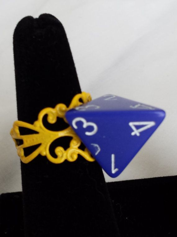 Blue 4 sided dice D4 dice ring on adjustable by BlueHeartGems