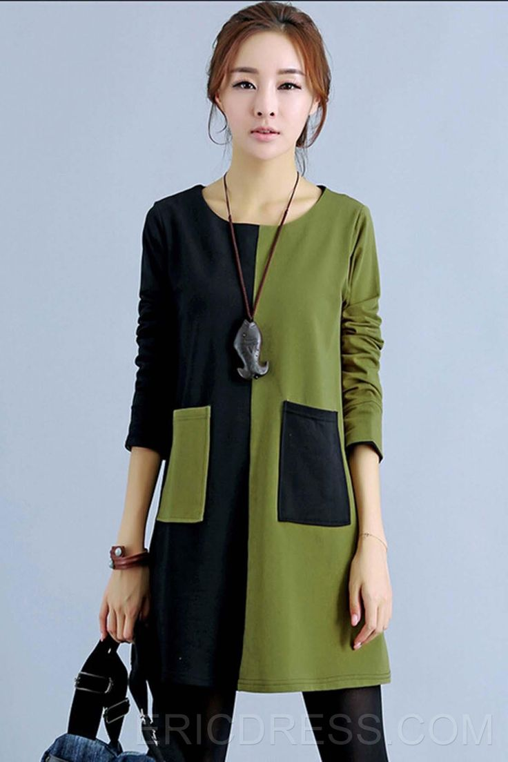 Colour Block Round Neck Casual Dresses 1 - love the black and khaki together. Great over leggings.