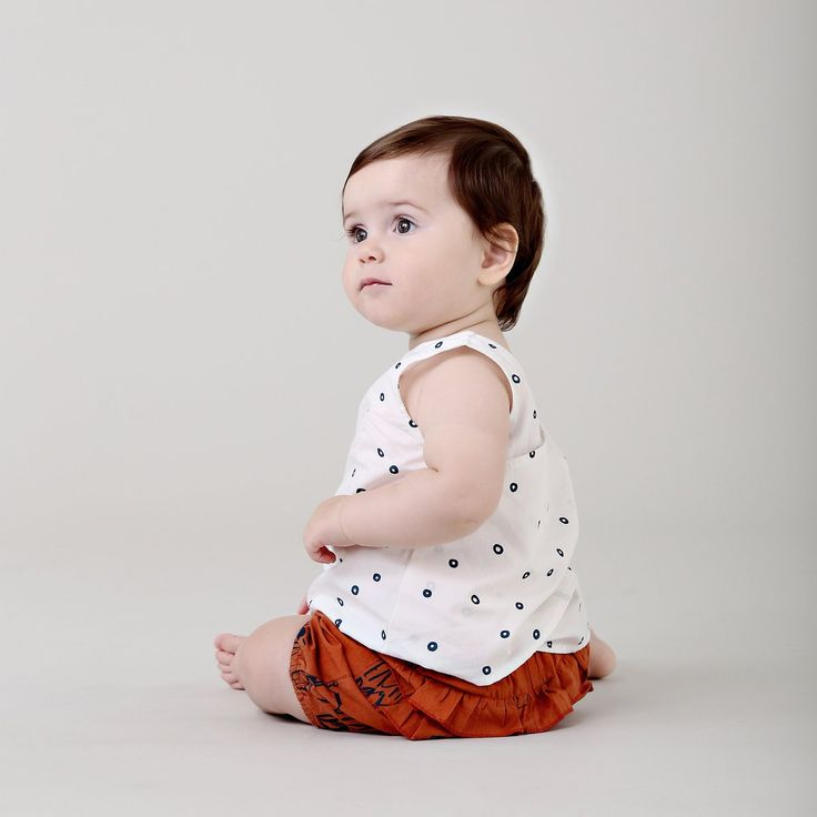 Organic baby clothing - Ethi- Bubble woven shell top lily white