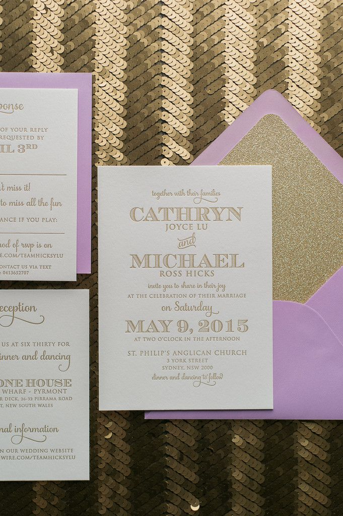 toronto wedding invitations%0A Fabulous Lavender and Gold Glitter Modern Letterpress Wedding Invitations   KRISTEN Glitter Collection by Just Invite