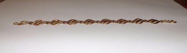 """Vintage European 14k Hallmarked Solid Gold Filigree Monet Link Bracelet 71/2""""  #Monet"""