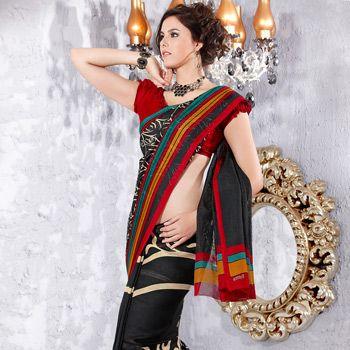 Black Jute Art Silk Saree with Blouse