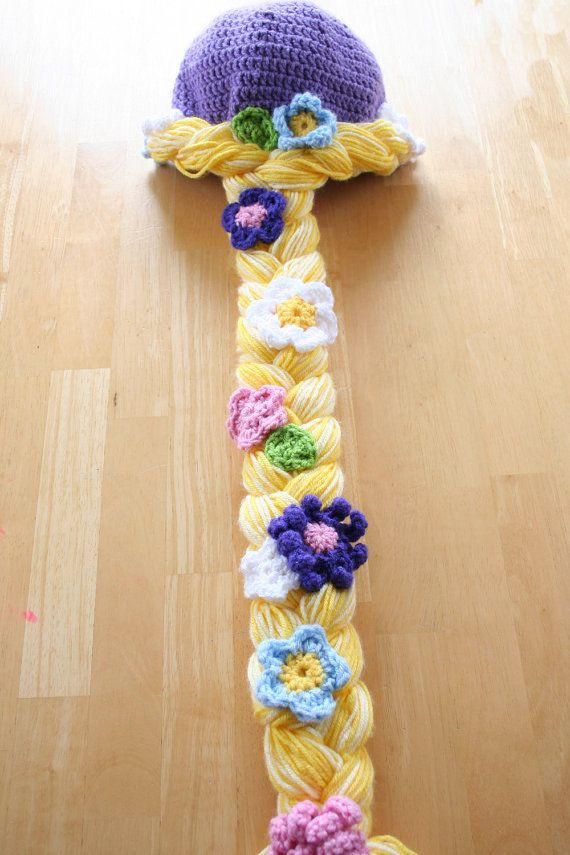 Rapunzel hat, crochet Rapunzel cap, Rapunzel braid, Rapunzel wig, Girls rapunzel hat, 12 month to 4t sizes available on Etsy, $42.00