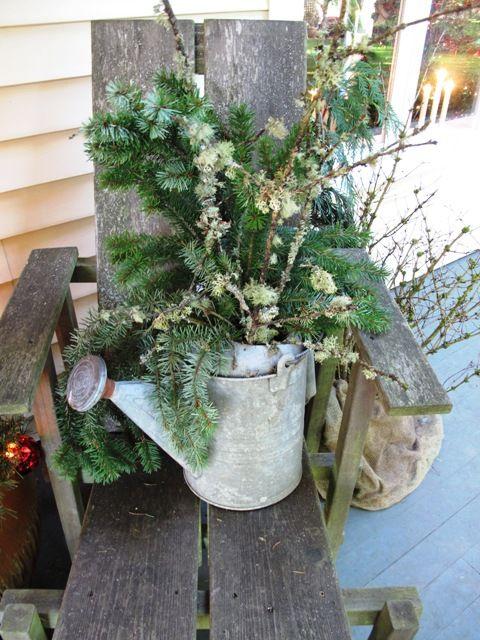 front door decor.: Vintage Water, Gardens Tools, Christmas Decorations, Winter Water, Winter Christmas, Holidays Decor, Vintage Gardens, Winter Decor,  Flowerpot