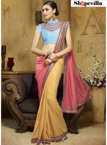 Incredible Pink Viscose Patch Border Work Designer Saree-305