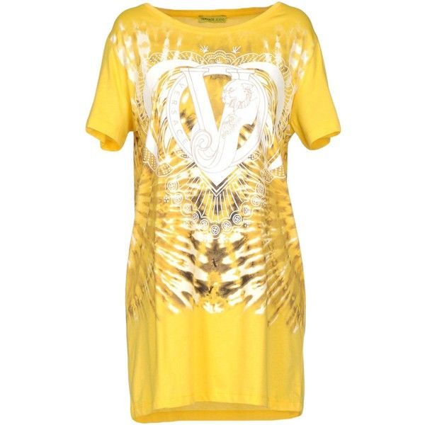 Versace Jeans T-shirt ($125) ❤ liked on Polyvore featuring tops, t-shirts, yellow, versace tee, short sleeve tee, yellow t shirt, jersey t shirt and yellow jersey