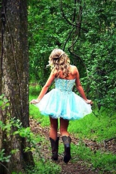 Prom Dresses with Cowgirl Boots | dress prom dress cowgirl boots cowgirl dress bustier dress blue dress ...