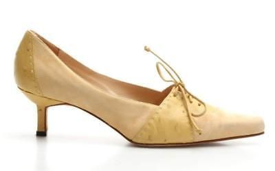 Manolo #blahnik Pale Yellow Suede & Ostrich Pointed Toe Heels Size 39 #manoloblahnikyellow