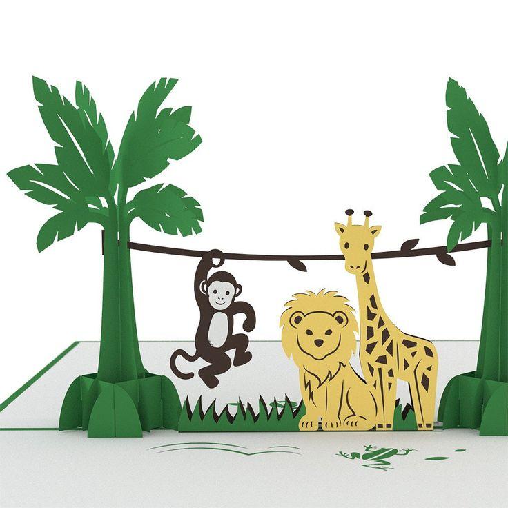 Jungle Animals birthday pop up card