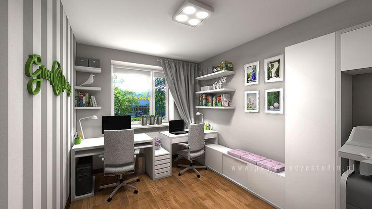 """Projekt wnętrza pomieszczenia biurowego firmy """"Green Design"""" zajmującej się projektowaniem i zakładaniem ogrodów i przestrzeni zielonych."""