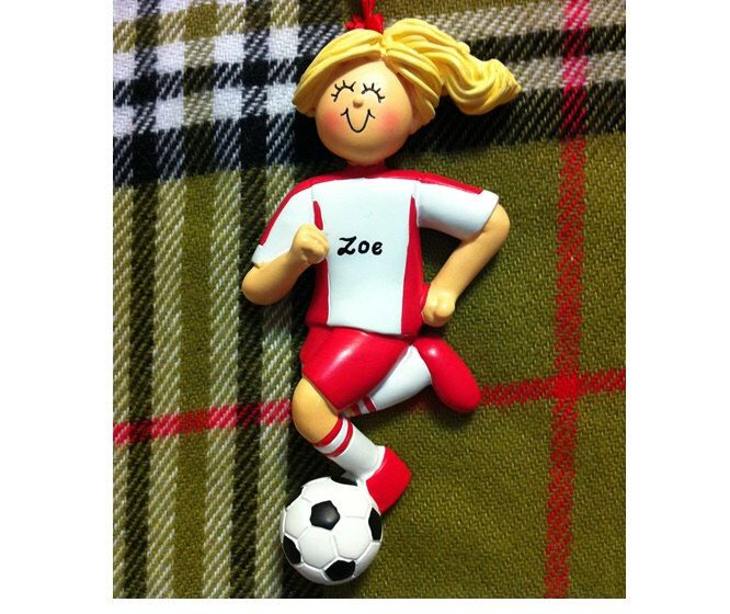Personalized Female Soccer Player in Red Uniform - Soccer Gift/Ornament/Magnet/Cake Topper/Stand - Customize Hair Color & Skin Tone by PersonalizeStation on Etsy https://www.etsy.com/listing/180819822/personalized-female-soccer-player-in-red