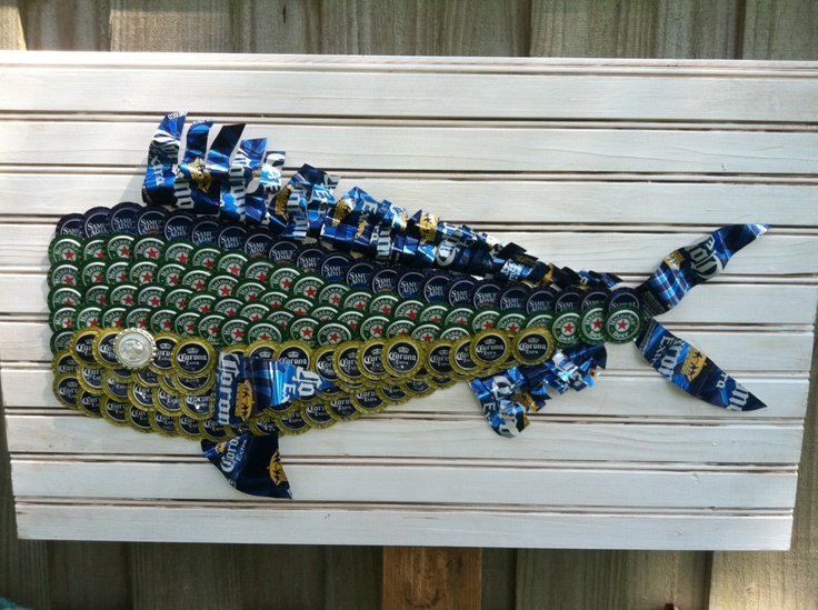 Dolphin bottle cap art bottle cap beer can art diy for Diy beer can art