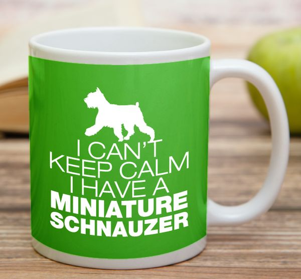 """""""I Can't Keep Calm I Have A Miniature Schnauzer""""  High quality 11 oz ceramic mugs, microwave and dishwasher safe.  Delivery. All mugs are custom printed within 2-3 working days and delivered within 3-5 working days. Express delivery costs $4.95 for the first item or if buying 2 or more items delivery is FREE!"""