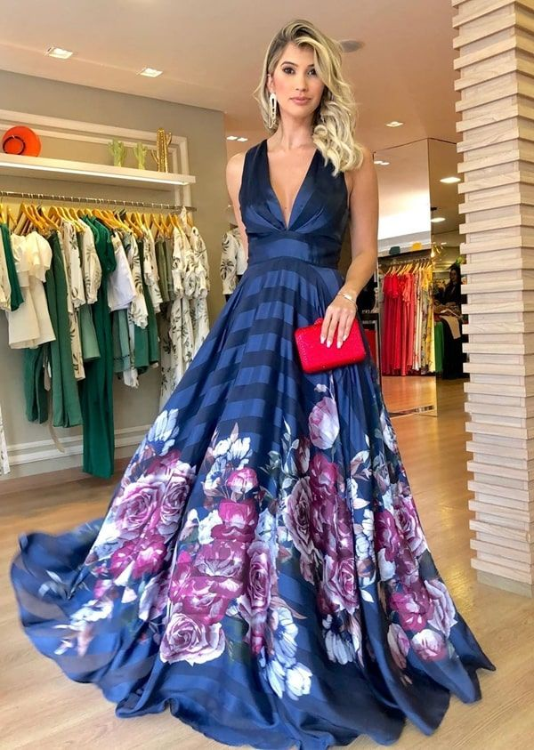 Seleção de vestido longo estampado para madrinhas e convidadas de casamento | Fashion, Dresses, Womens_fashion