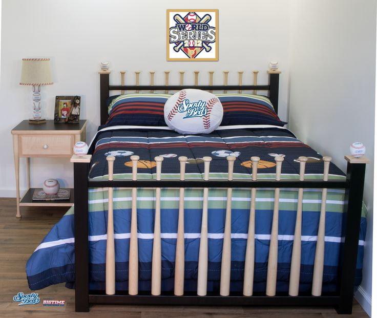 Baseball bat bed created for quality minded sports fans.  Amish crafted! #baseballfurniture #baseballbed  #baseballboys #sportbed #kidsbed #teenbed #sportybeds #sportsfurniture  #baseball #baseballbat  #kidsfurniture #baseballmom  #baseballkids  #kidsrooms  #sportsrooms #kidsdecor #baseballdreams  #bedroomfurniture