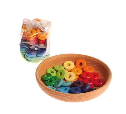 Бусины-диски разноцветные, 60 штук, (Grimm's)