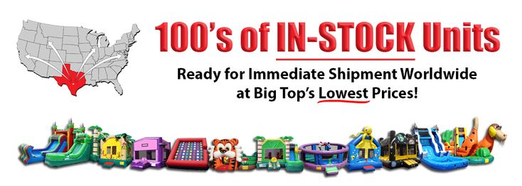 Here at BigTopInflatables.com, we offer a diverse line of Commercial-Grade Inflatables for Sale, commonly known as, Moonwalks, Bouncers, Jumpers, and Bounce Houses. We also carry Inflatable Slides, Water Slides, Combo Units, and Interactive Inflatable Games. Also, we offer US Quality Commercial Tents for Sale, as well as, a Full-Line of Commercial Concession Equipment for Sale. Call Today 888-783-1060!
