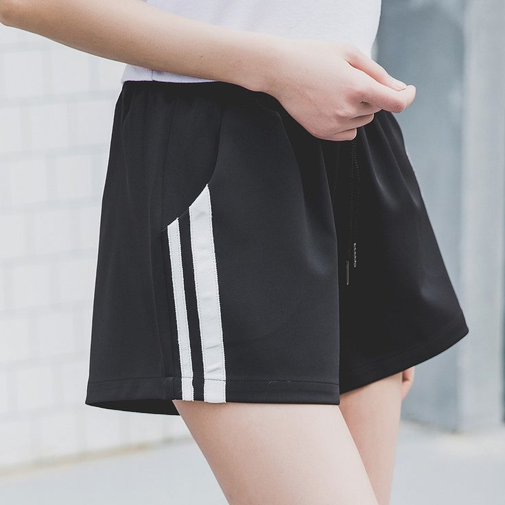ZADORIN 2017 Summer Stripe Shorts Women Loose Casual Short Femme Elastic High Waist Shorts Fashion White Black Spandex Shorts #Affiliate
