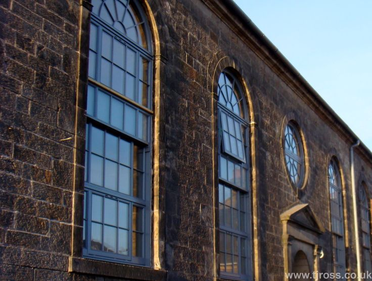 Curved headed sash windows, RAL colours, architecture, listed building, development project.