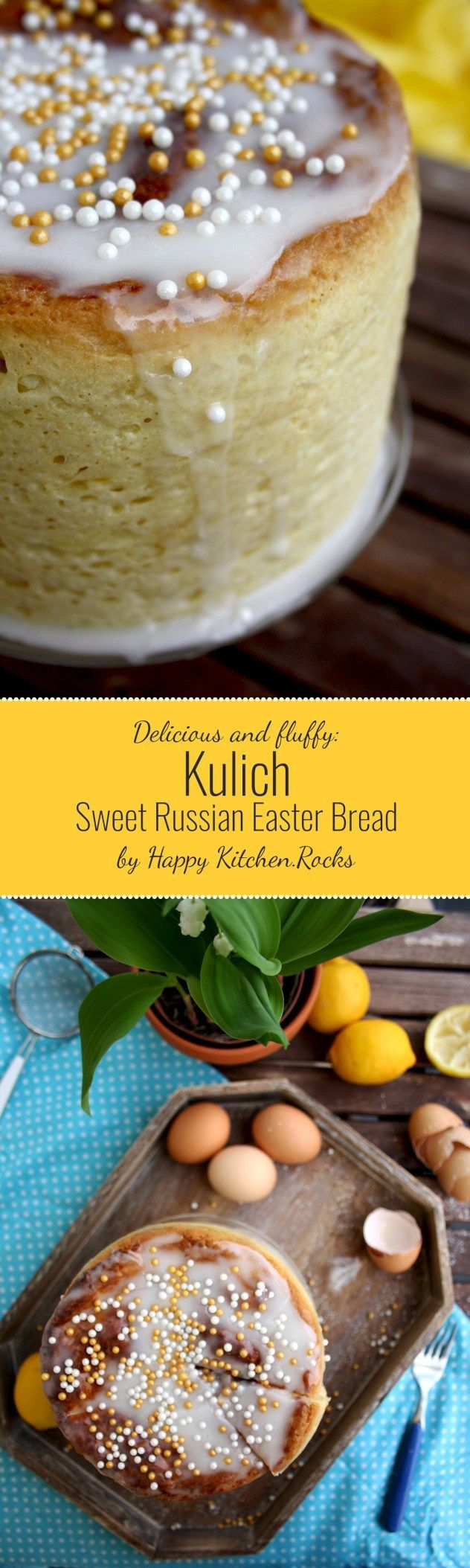 Russian Kulich (sweet Easter bread) is fluffy, fragrant, soft and aromatic. This recipe is healthier and less time-consuming than the original. This kulich doesn't go stale for more than 10 days! #easter #easterrecipes #russianrecipe #bread #sweetbread #breadrecipe #baking #homemade #homemadebread