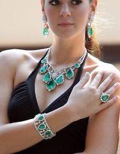 Викторианский свадебный 16.40ct бриллиант изумруд гранатам ожерелье/браслет/серьги/кольцо