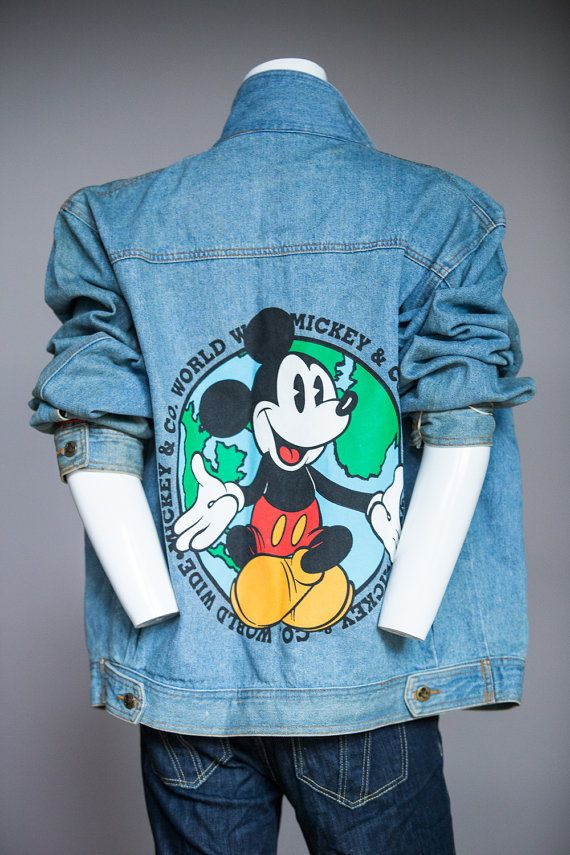 Check out this item in my Etsy shop https://www.etsy.com/ca/listing/490520682/1990s-mickey-mouse-denim-jacket-vintage