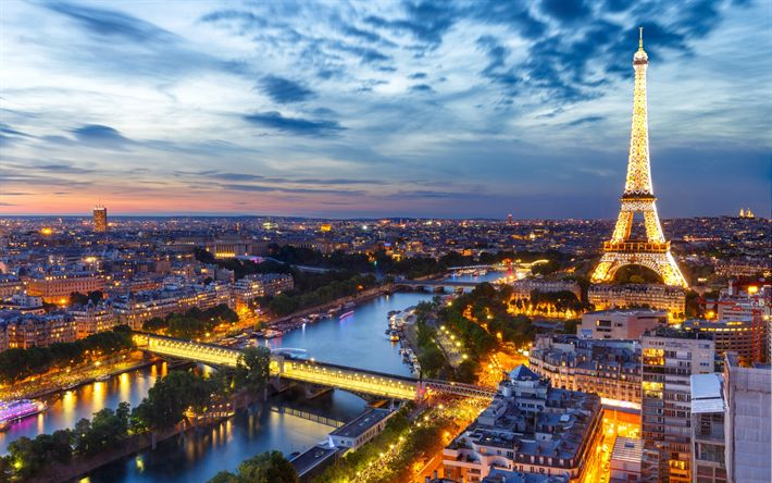 壁紙をダウンロードする エッフェル塔, パリの, 夜, フランス, 都市パノラマ, 街の灯