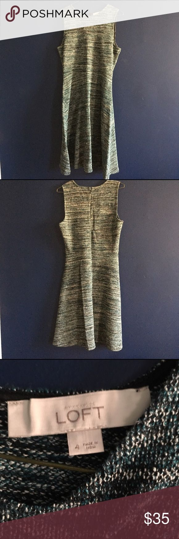 Perfect everyday dress- LOFT The perfect everyday occasion dress from LOFT. Cotton polyester blend, black, white, gray and blue pattern. Flattering tailored waist, falls just below the knee. Worn gently, excellent condition. LOFT Dresses Midi
