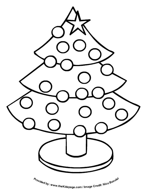 Christmas Tree - Free Coloring Pages for Kids - Printable Colouring Sheets Make into a color by color word activity