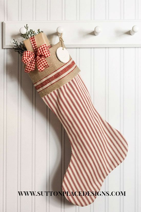 Christmas Stocking Pottery Barn Red Ticking with vintage mangle cloth cuff | Lined | suttonplacedesigns.com