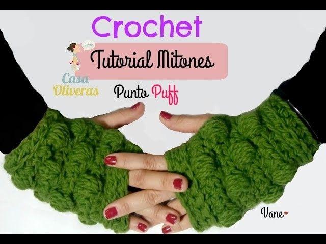 Mitones a crochet en punto Puff ( guantes sin dedos)