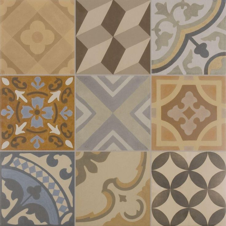 This tile is perfect for an on-trend patchwork look. Six different geometric patterns in browns and blues combine in this eye-catching tile. Use it as a backsplash to add color to a bathroom or kitchen.