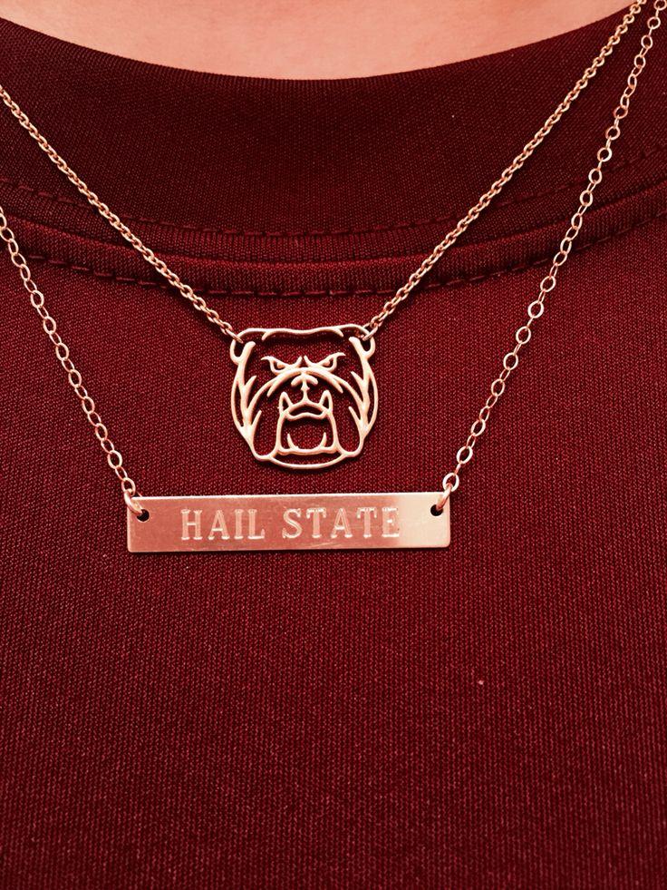 Hail state bulldog necklace
