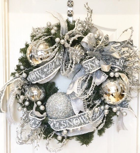Pine Silver Wreath Christmas Wreath Shabby Chic Wreath Southern Wreaths Front Door Wreath Wint Christmas Wreaths Shabby Chic Wreath Christmas Tree Inspiration