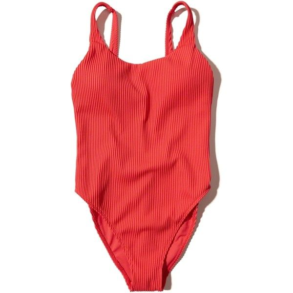 Hollister Ribbed High-Leg One-Piece Swimsuit ($45) ❤ liked on Polyvore featuring swimwear, one-piece swimsuits, red and hollister co. swimwear