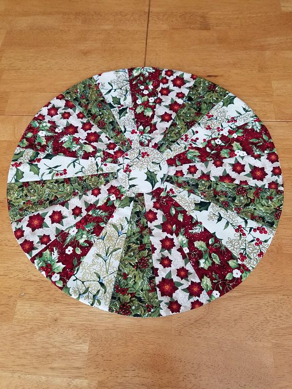 Christmas Table Topper Round Table Quilt Modern Dresden Table Runner Patchwork Centerpiece Red G Christmas Table Runner Pattern Table Quilts Table Toppers