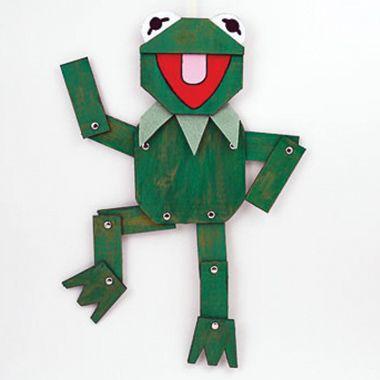 Marioneta de cartón de La Rana Gustavo