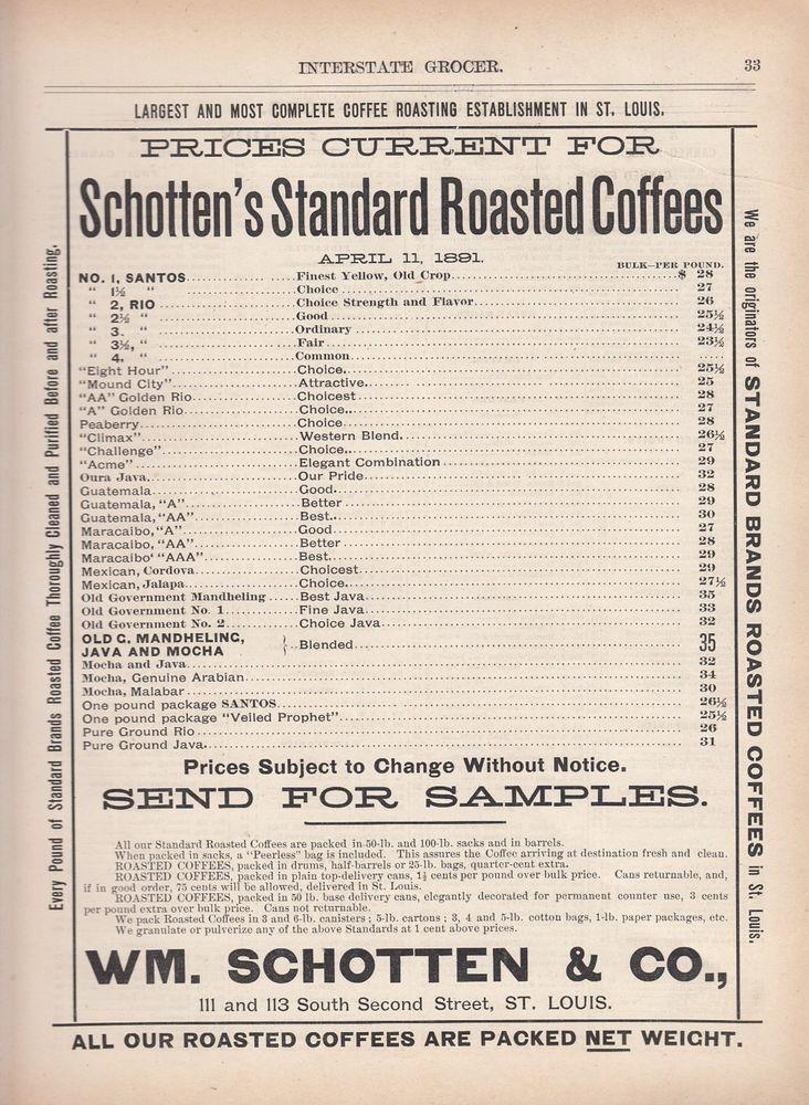 63 best all vintage st louis mo saint louis missouri images on 1891 wm schotten co st louis mo ad schottens standard roasted coffees schottenroastedcoffees malvernweather Gallery